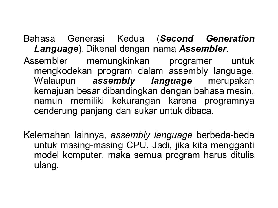 Bahasa Generasi Kedua (Second Generation Language)