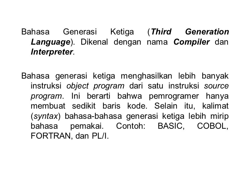 Bahasa Generasi Ketiga (Third Generation Language)