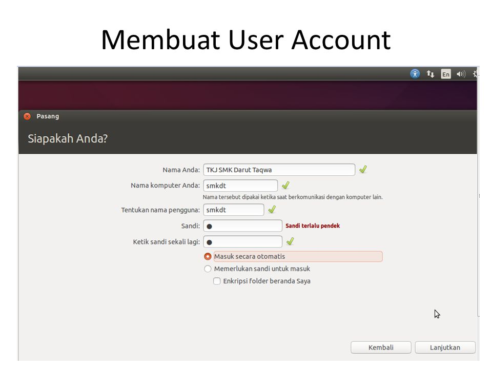 Membuat User Account