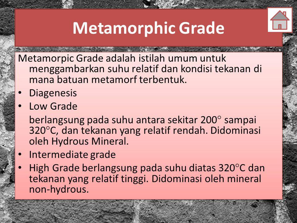 Metamorphic Grade Metamorpic Grade adalah istilah umum untuk menggambarkan suhu relatif dan kondisi tekanan di mana batuan metamorf terbentuk.