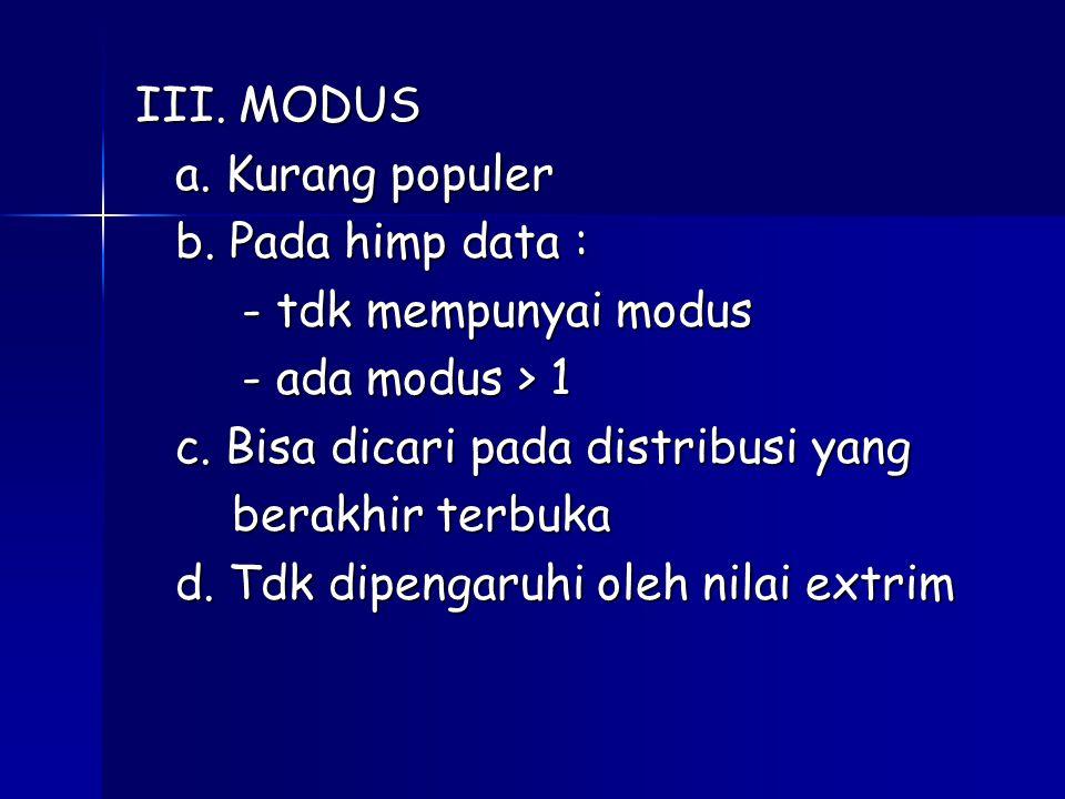 III. MODUS a. Kurang populer. b. Pada himp data : - tdk mempunyai modus. - ada modus > 1. c. Bisa dicari pada distribusi yang.