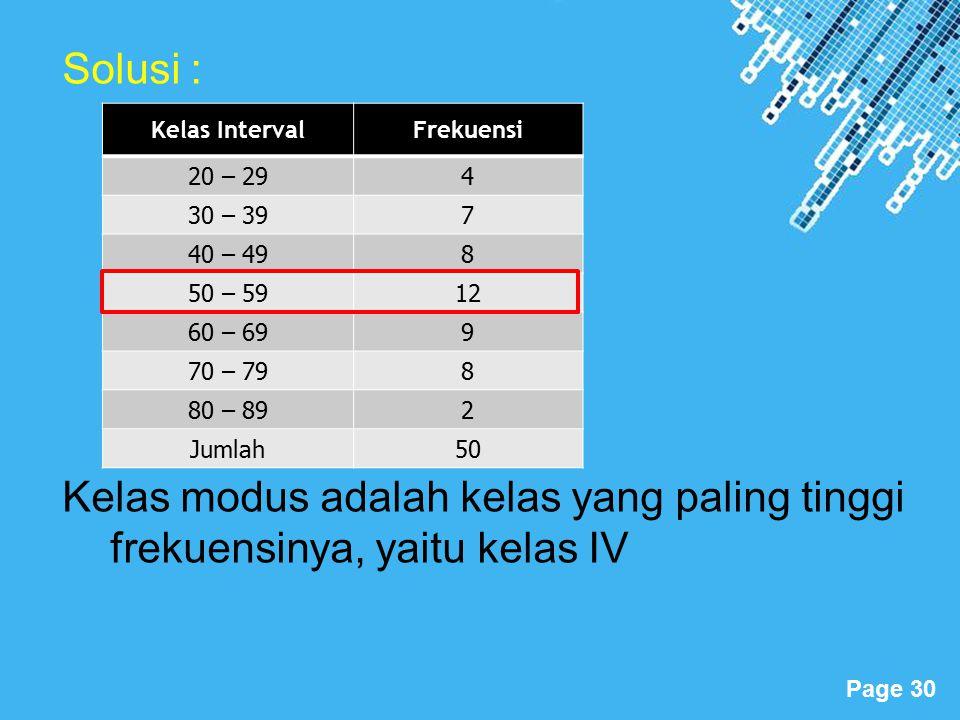 Solusi : Kelas modus adalah kelas yang paling tinggi frekuensinya, yaitu kelas IV. Kelas Interval.