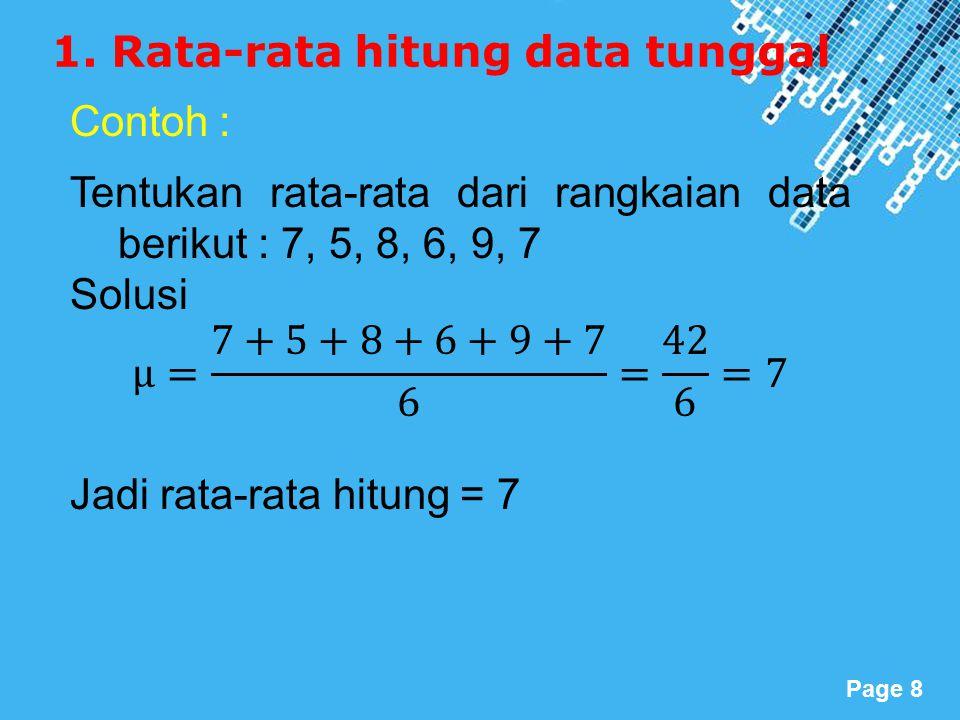 1. Rata-rata hitung data tunggal