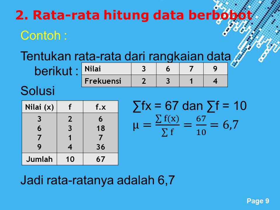 2. Rata-rata hitung data berbobot
