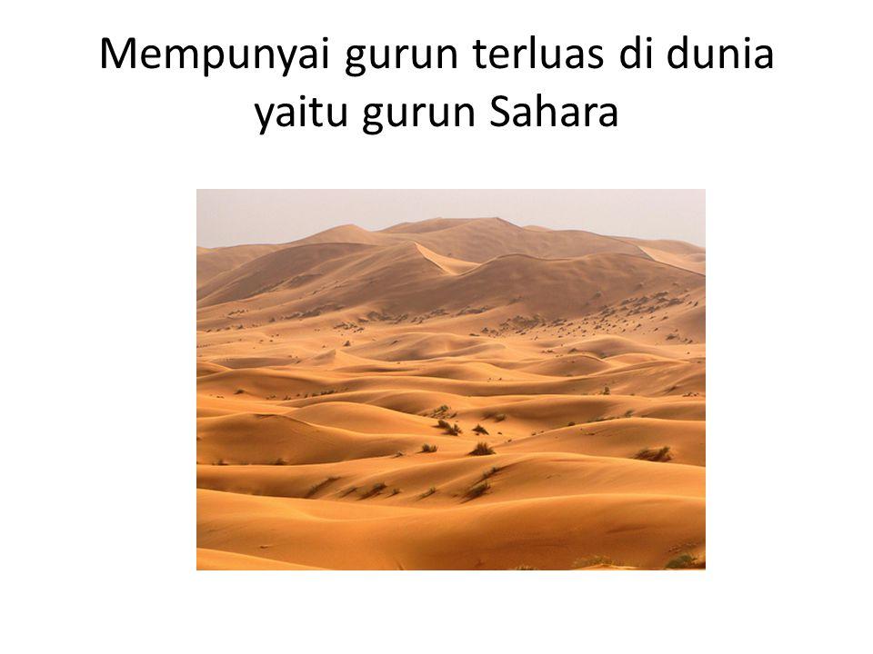 Mempunyai gurun terluas di dunia yaitu gurun Sahara