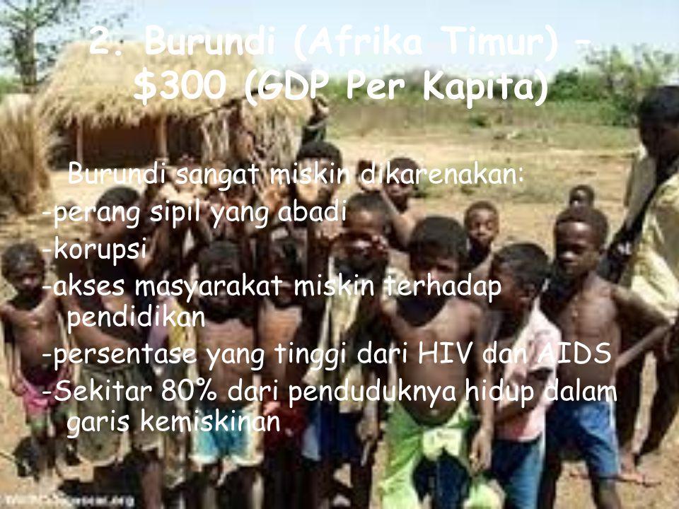 2. Burundi (Afrika Timur) – $300 (GDP Per Kapita)