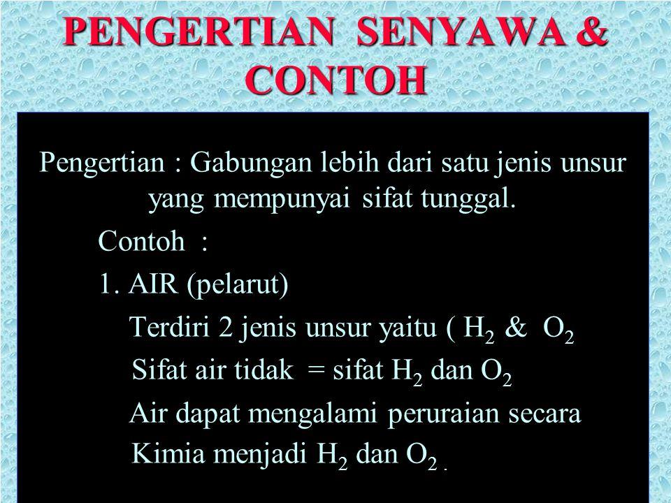 PENGERTIAN SENYAWA & CONTOH