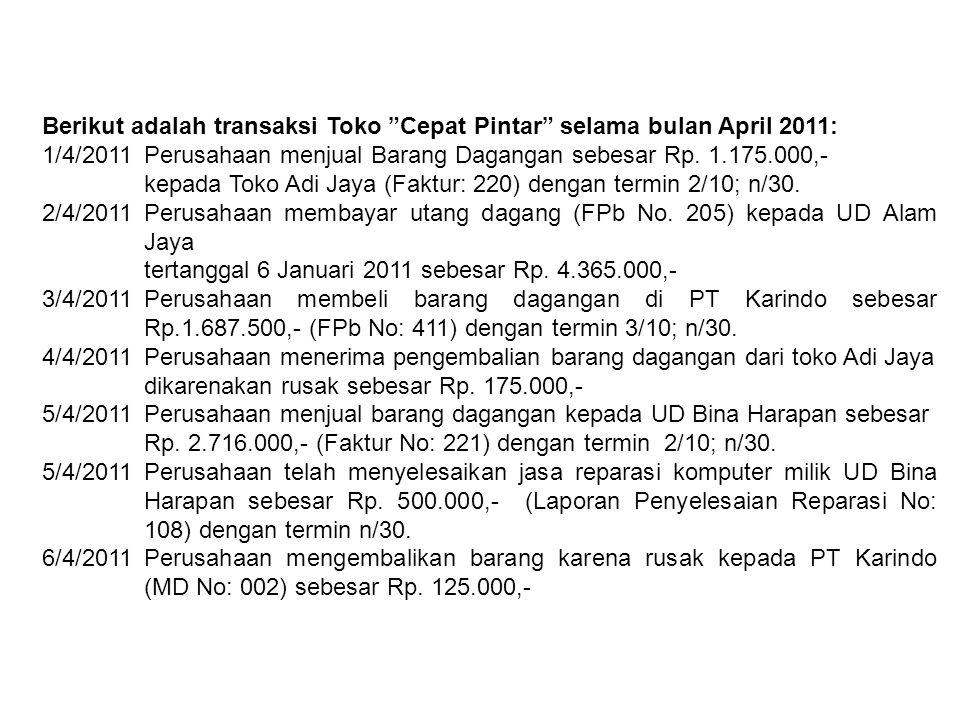 Berikut adalah transaksi Toko Cepat Pintar selama bulan April 2011: