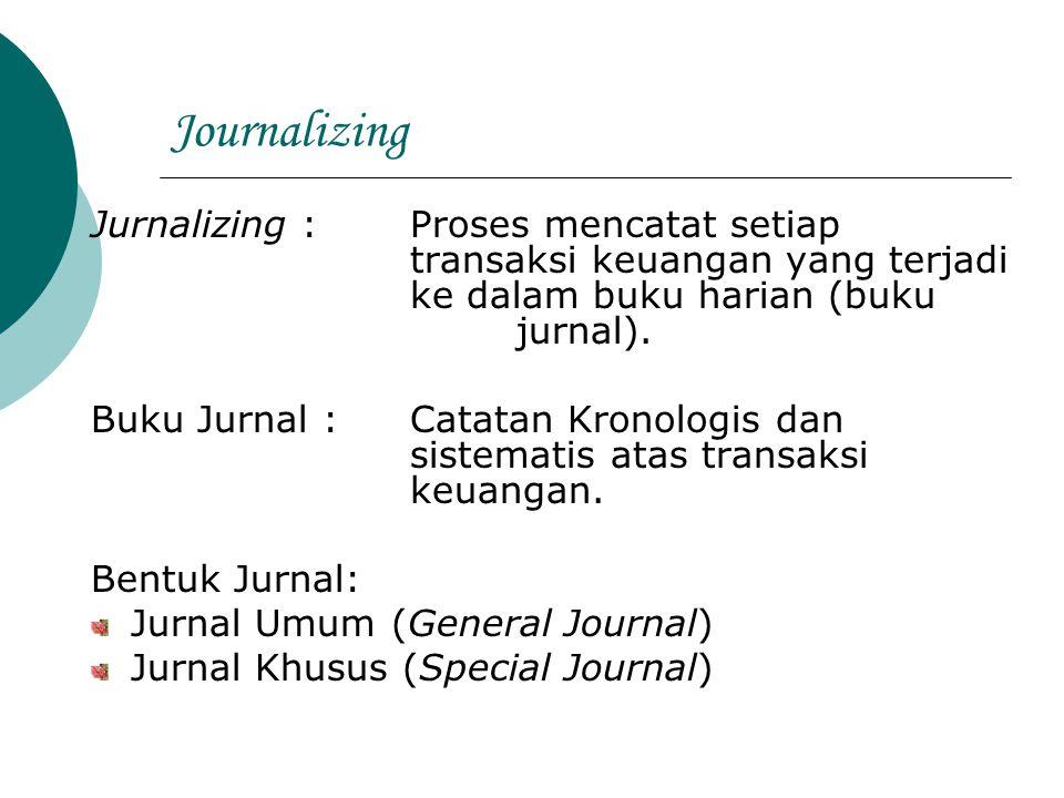 Journalizing Jurnalizing : Proses mencatat setiap transaksi keuangan yang terjadi ke dalam buku harian (buku jurnal).