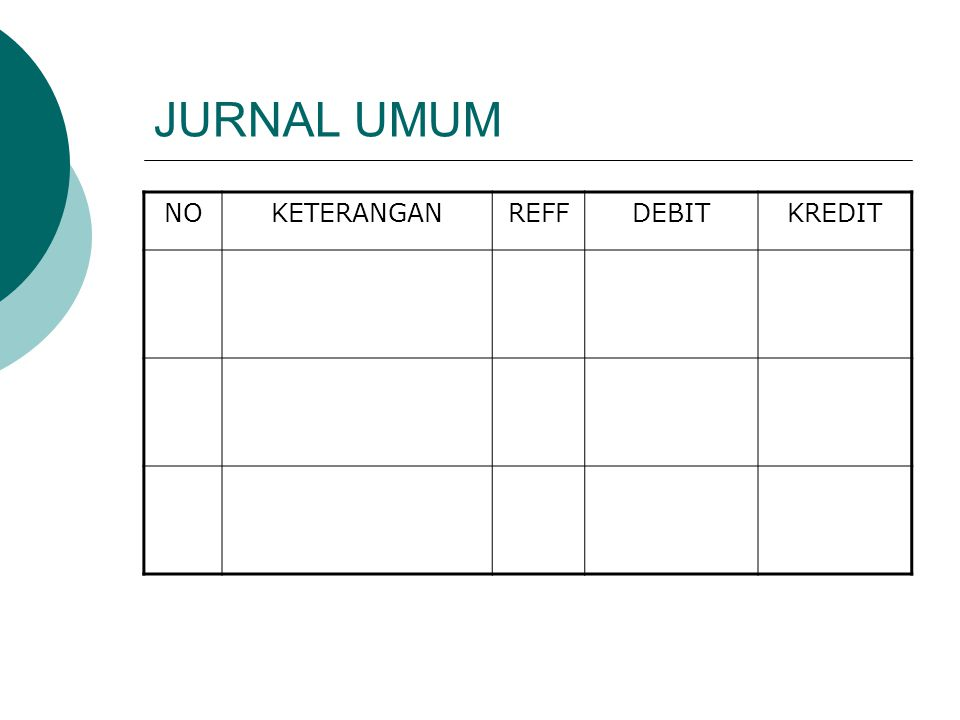 JURNAL UMUM NO KETERANGAN REFF DEBIT KREDIT