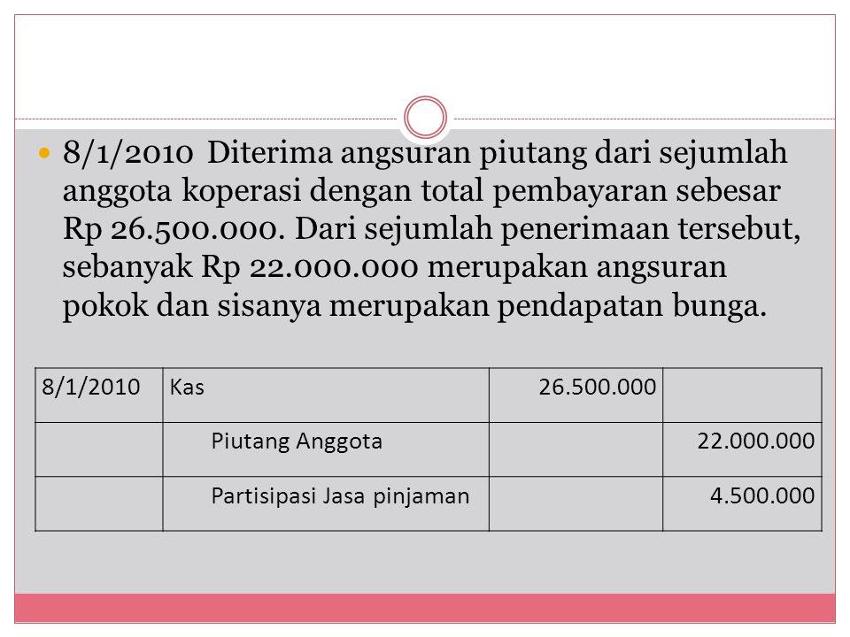 8/1/2010 Diterima angsuran piutang dari sejumlah anggota koperasi dengan total pembayaran sebesar Rp 26.500.000. Dari sejumlah penerimaan tersebut, sebanyak Rp 22.000.000 merupakan angsuran pokok dan sisanya merupakan pendapatan bunga.