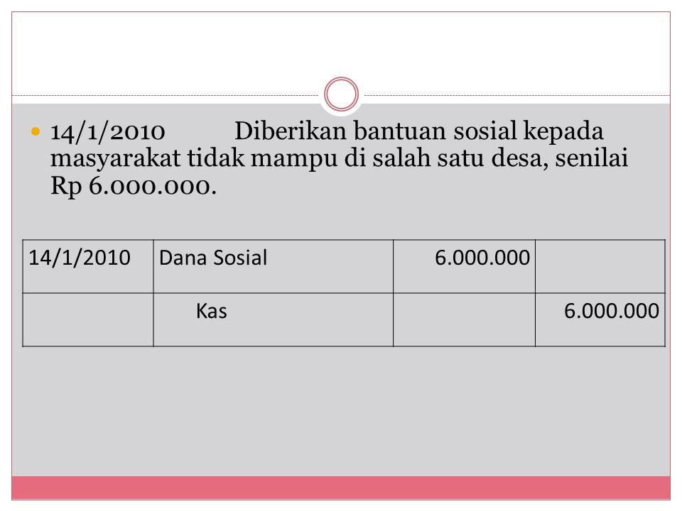 14/1/2010 Diberikan bantuan sosial kepada masyarakat tidak mampu di salah satu desa, senilai Rp 6.000.000.