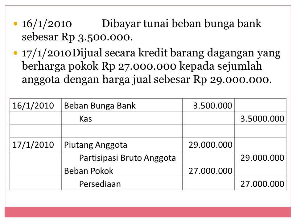 16/1/2010 Dibayar tunai beban bunga bank sebesar Rp 3.500.000.