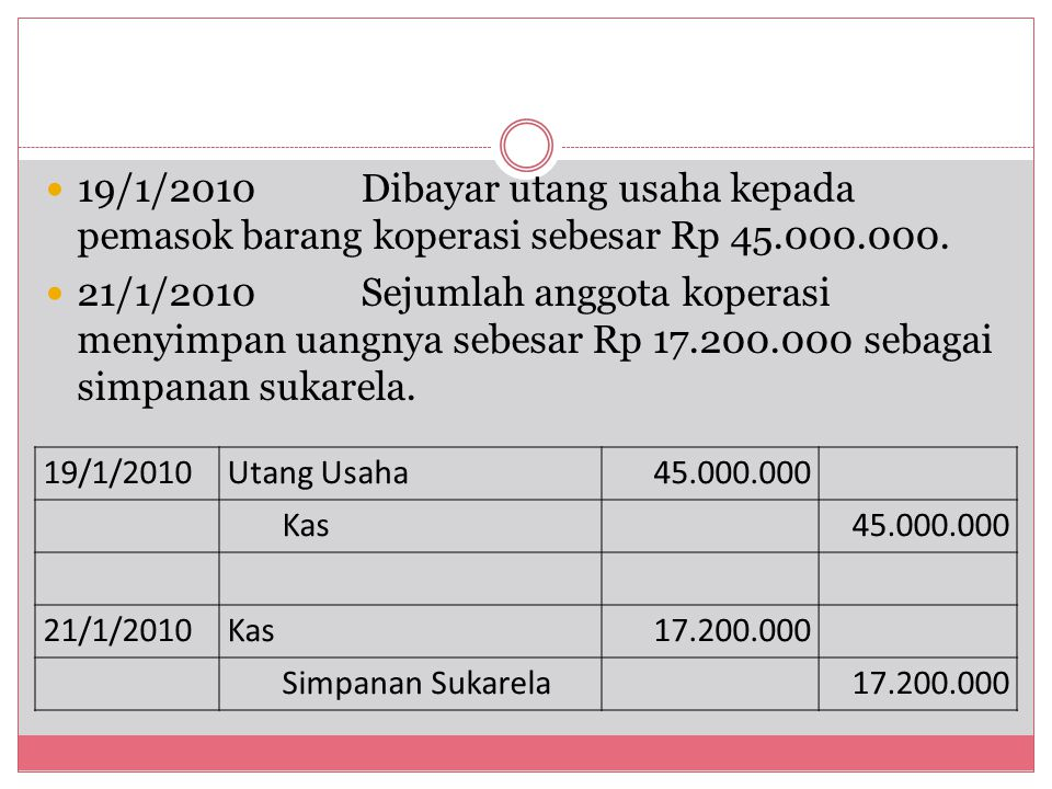 19/1/2010 Dibayar utang usaha kepada pemasok barang koperasi sebesar Rp 45.000.000.