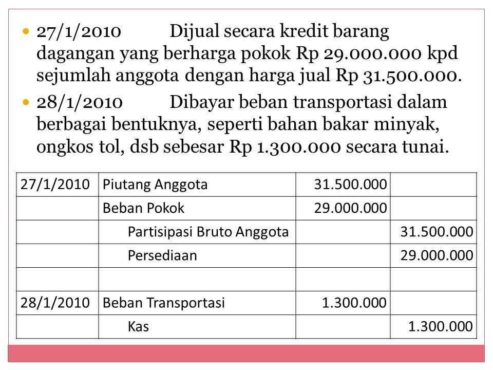 27/1/2010 Dijual secara kredit barang dagangan yang berharga pokok Rp 29.000.000 kpd sejumlah anggota dengan harga jual Rp 31.500.000.