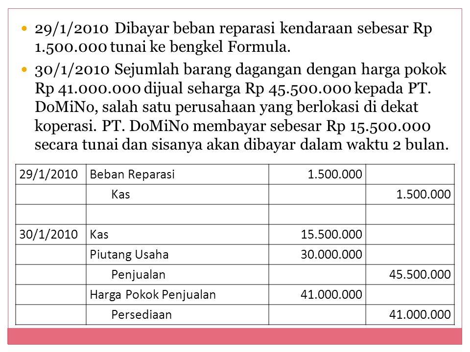 29/1/2010. Dibayar beban reparasi kendaraan sebesar Rp 1. 500