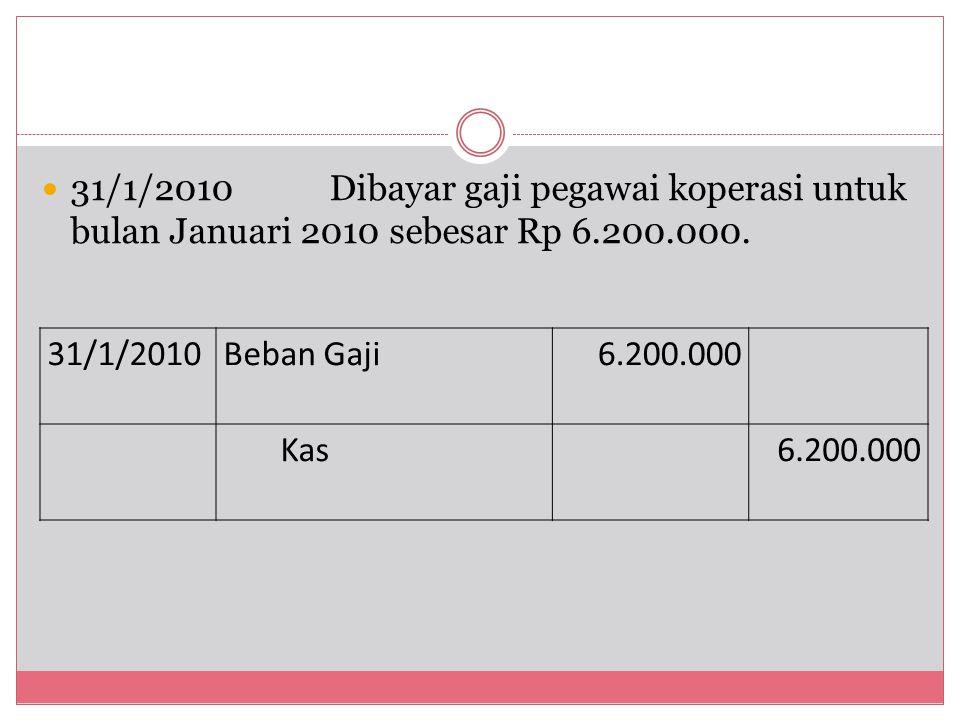 31/1/2010 Dibayar gaji pegawai koperasi untuk bulan Januari 2010 sebesar Rp 6.200.000.