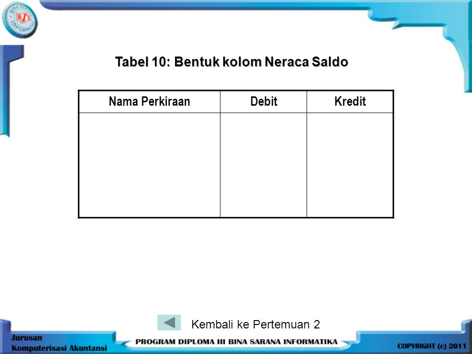 Tabel 10: Bentuk kolom Neraca Saldo
