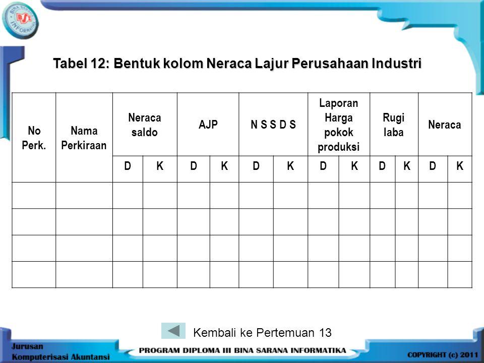 Tabel 12: Bentuk kolom Neraca Lajur Perusahaan Industri