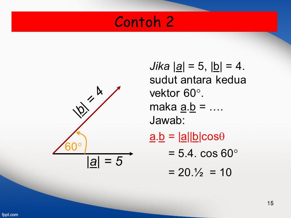 Contoh 2 |b| = 4 |a| = 5 Jika |a| = 5, |b| = 4. sudut antara kedua