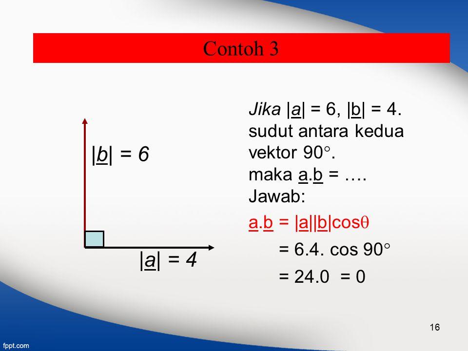 Contoh 3 |b| = 6 |a| = 4 Jika |a| = 6, |b| = 4. sudut antara kedua
