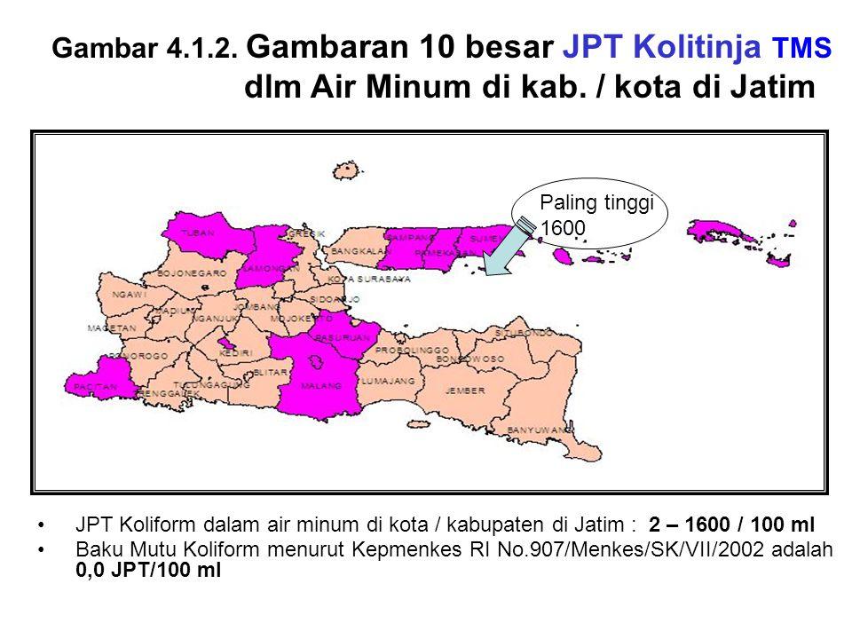 Gambar 4.1.2. Gambaran 10 besar JPT Kolitinja TMS dlm Air Minum di kab. / kota di Jatim