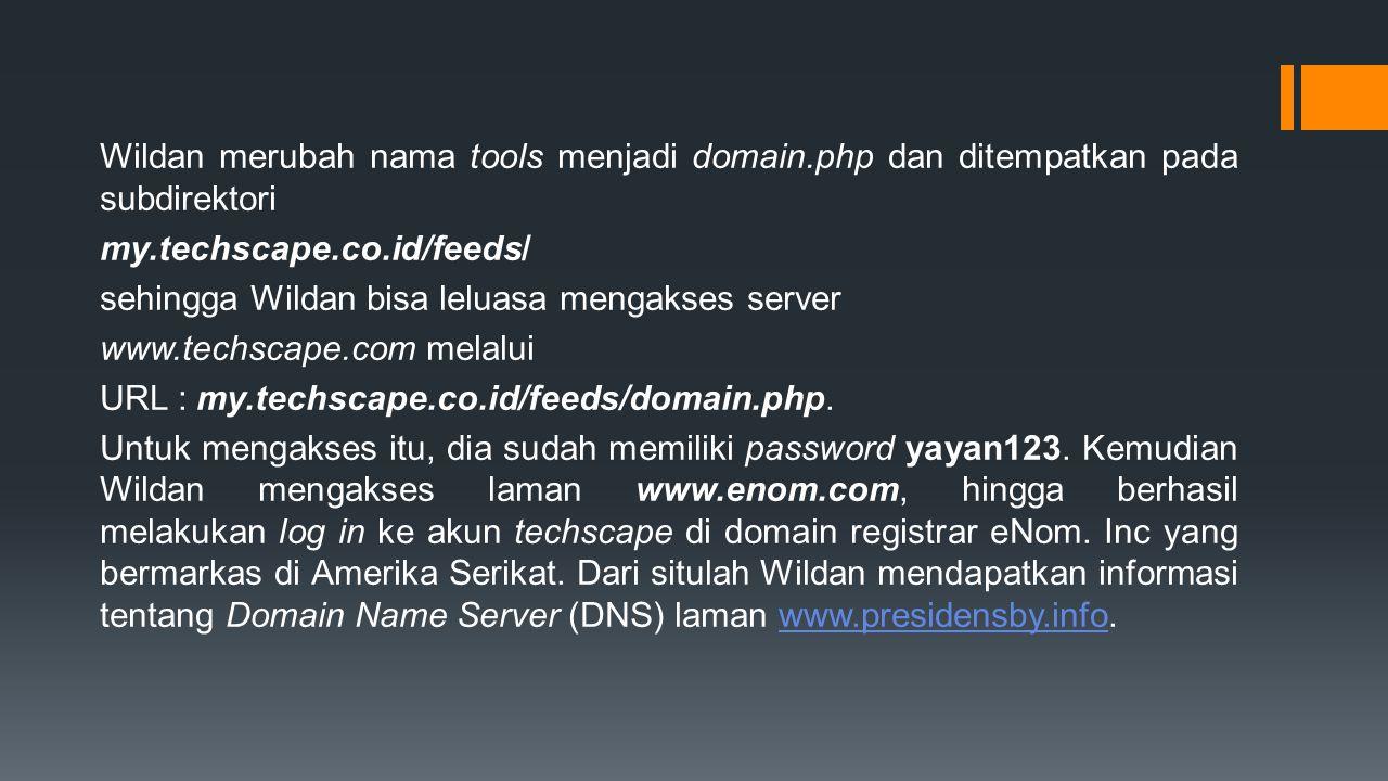 Wildan merubah nama tools menjadi domain