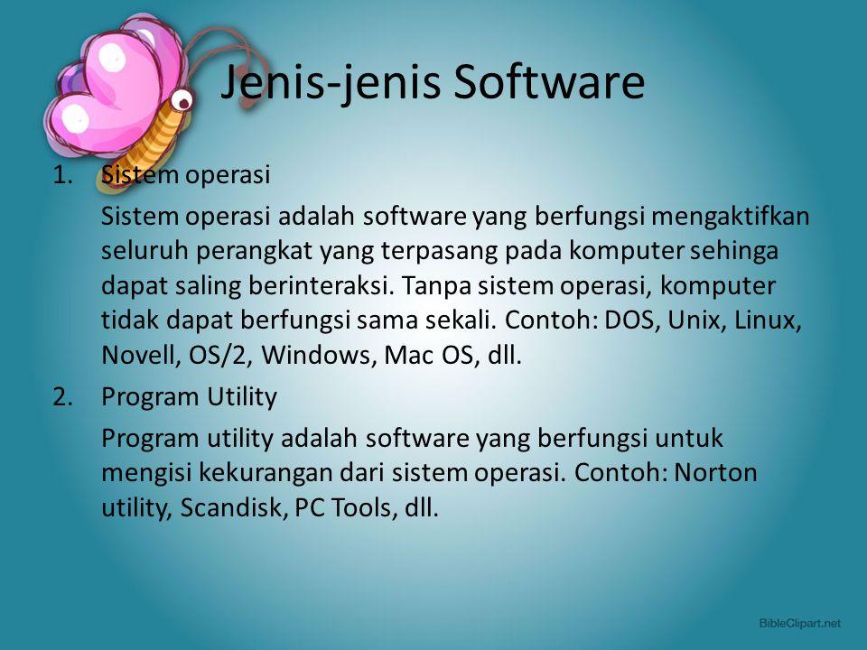 Jenis-jenis Software Sistem operasi
