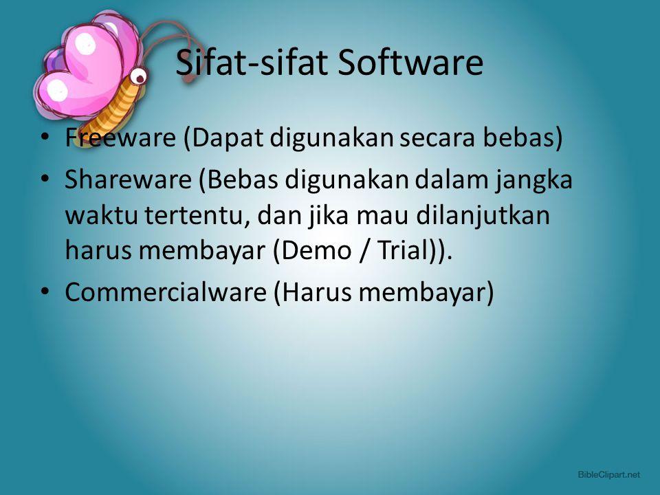 Sifat-sifat Software Freeware (Dapat digunakan secara bebas)