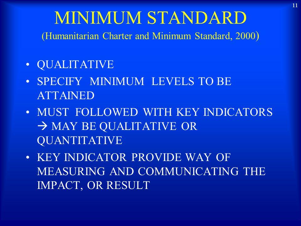 MINIMUM STANDARD (Humanitarian Charter and Minimum Standard, 2000)