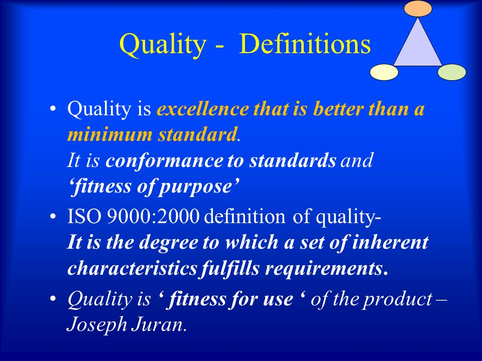 Quality - Definitions