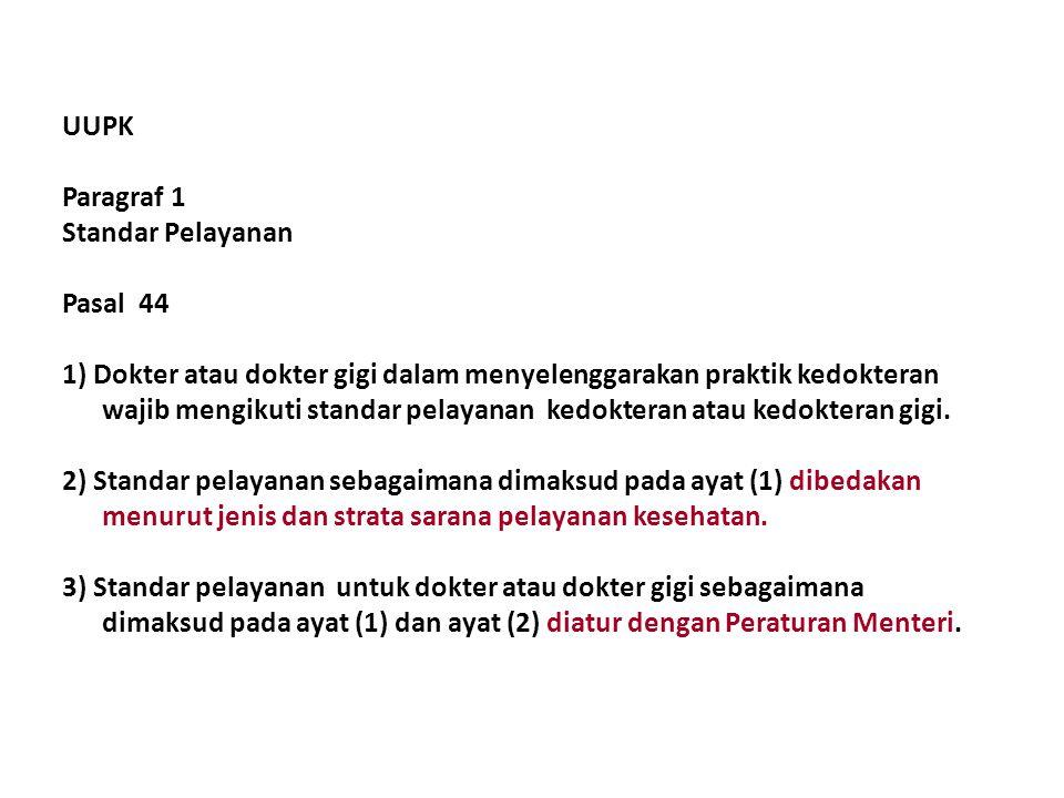 UUPK Paragraf 1. Standar Pelayanan. Pasal 44.