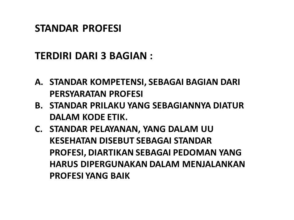 STANDAR PROFESI TERDIRI DARI 3 BAGIAN :