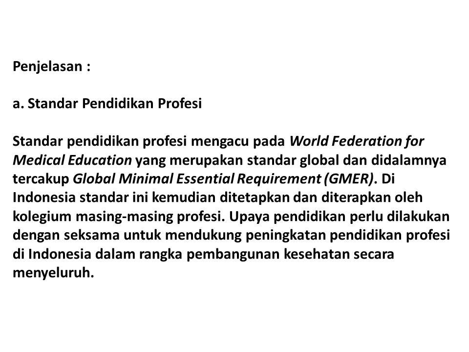 Penjelasan : a. Standar Pendidikan Profesi.