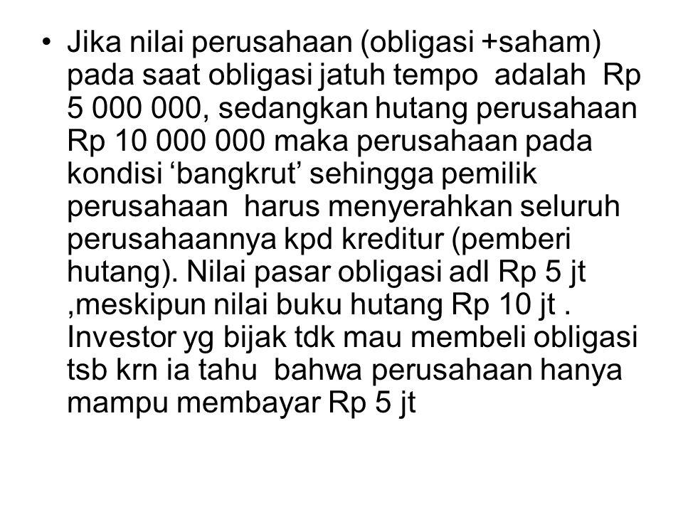 Jika nilai perusahaan (obligasi +saham) pada saat obligasi jatuh tempo adalah Rp 5 000 000, sedangkan hutang perusahaan Rp 10 000 000 maka perusahaan pada kondisi 'bangkrut' sehingga pemilik perusahaan harus menyerahkan seluruh perusahaannya kpd kreditur (pemberi hutang).