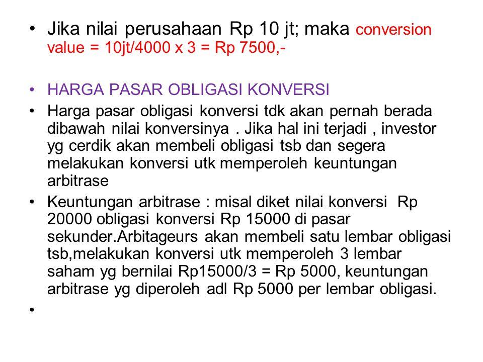 Jika nilai perusahaan Rp 10 jt; maka conversion value = 10jt/4000 x 3 = Rp 7500,-