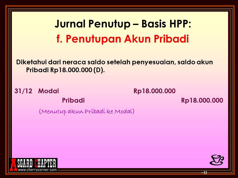 Jurnal Penutup – Basis HPP: f. Penutupan Akun Pribadi