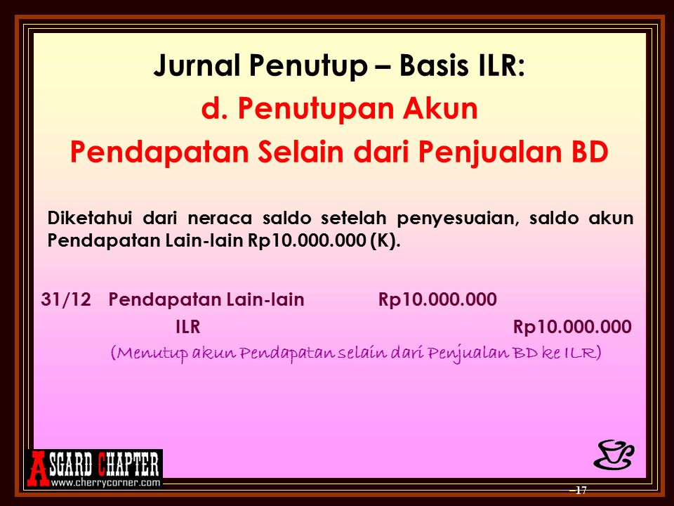 Jurnal Penutup – Basis ILR: Pendapatan Selain dari Penjualan BD