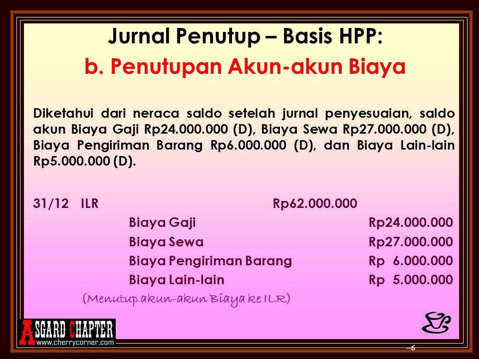 Jurnal Penutup – Basis HPP: b. Penutupan Akun-akun Biaya