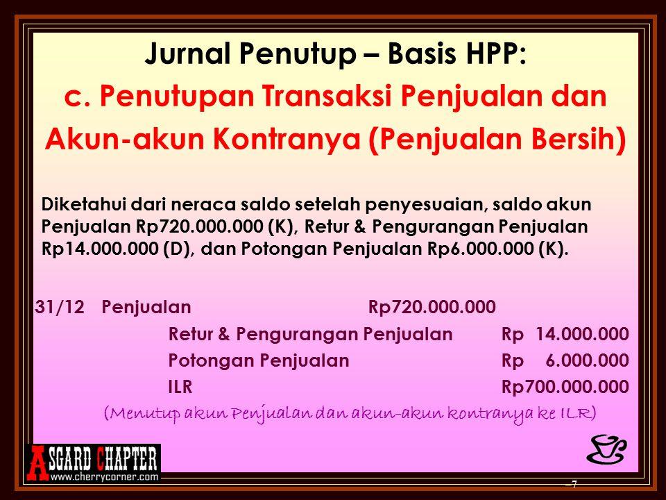Jurnal Penutup – Basis HPP: c. Penutupan Transaksi Penjualan dan