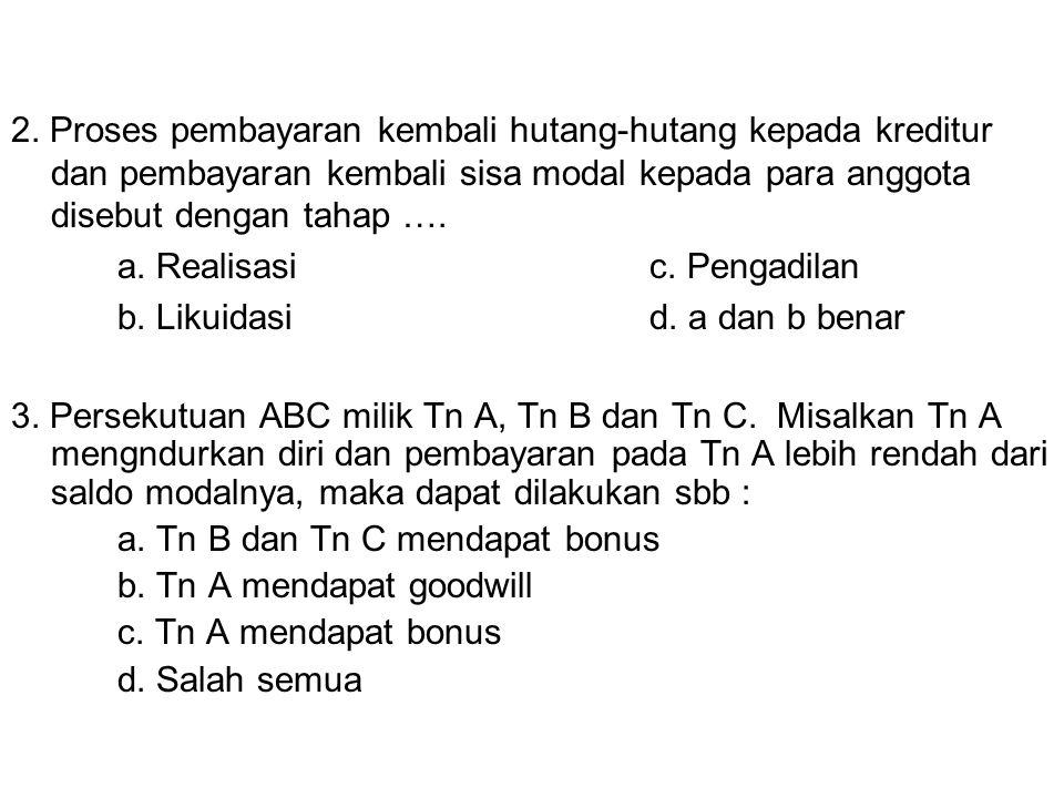 a. Realisasi c. Pengadilan b. Likuidasi d. a dan b benar