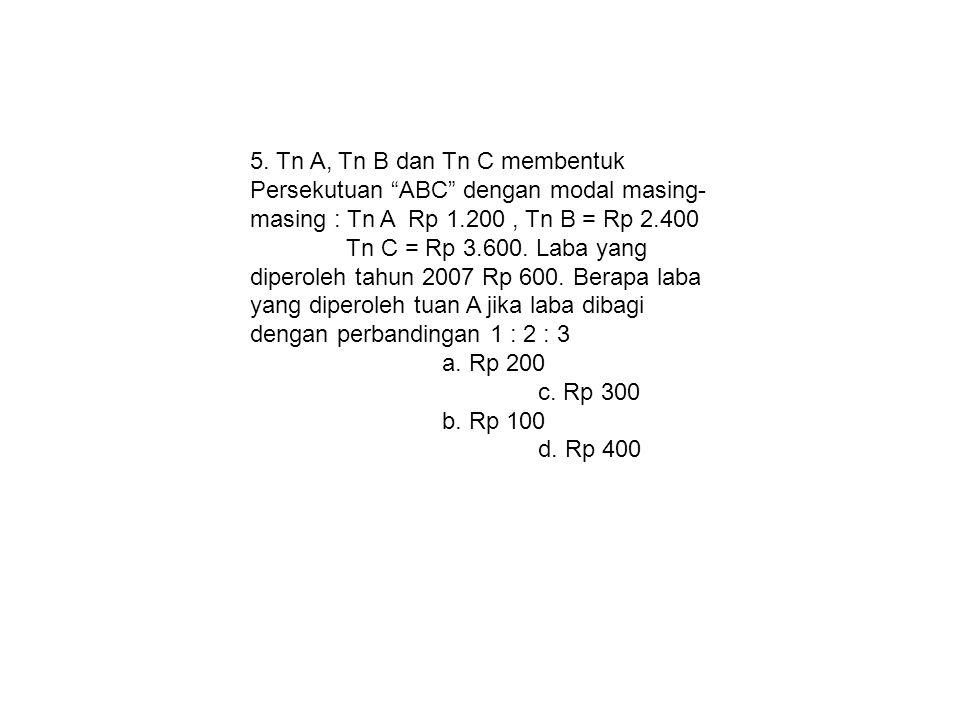 5. Tn A, Tn B dan Tn C membentuk Persekutuan ABC dengan modal masing-masing : Tn A Rp 1.200 , Tn B = Rp 2.400