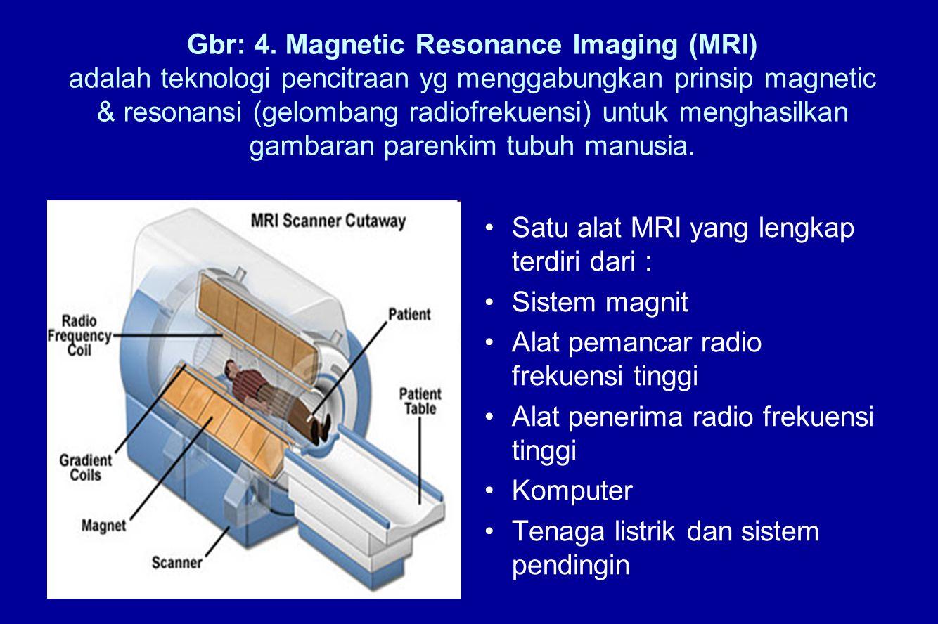 Gbr: 4. Magnetic Resonance Imaging (MRI) adalah teknologi pencitraan yg menggabungkan prinsip magnetic & resonansi (gelombang radiofrekuensi) untuk menghasilkan gambaran parenkim tubuh manusia.