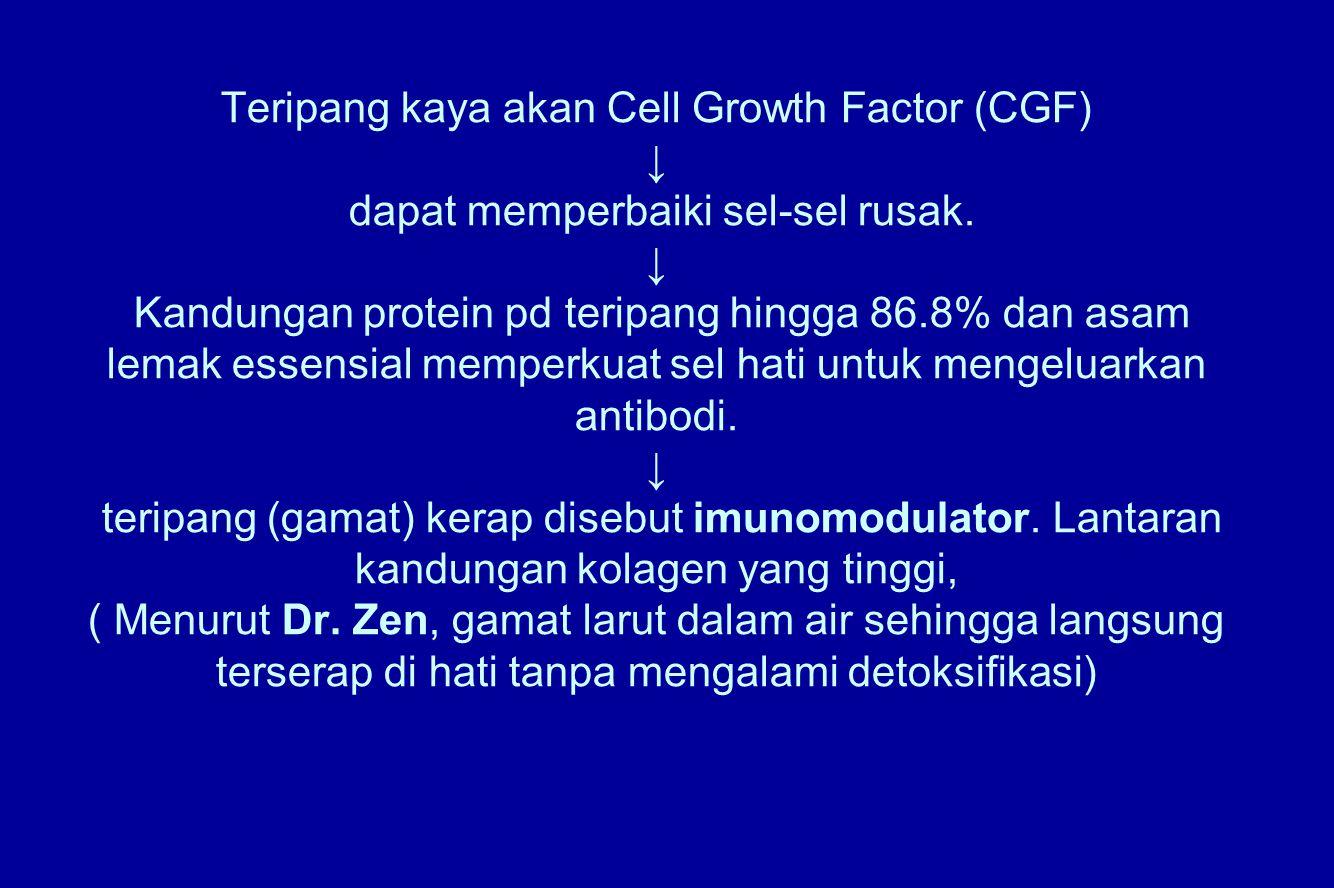 Teripang kaya akan Cell Growth Factor (CGF) ↓ dapat memperbaiki sel-sel rusak.
