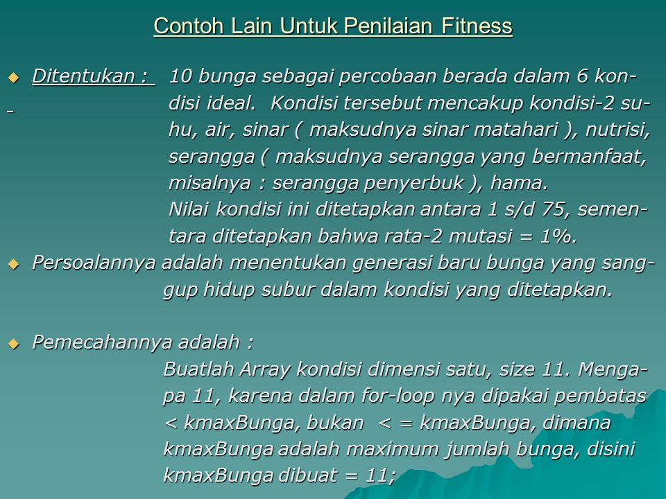 Contoh Lain Untuk Penilaian Fitness