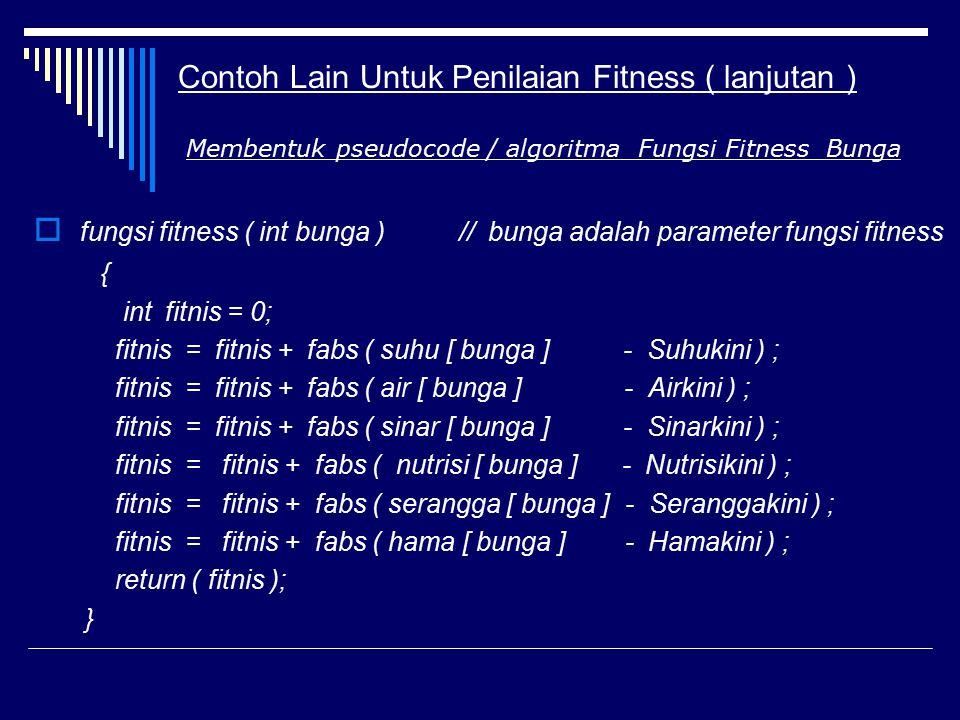 Contoh Lain Untuk Penilaian Fitness ( lanjutan )