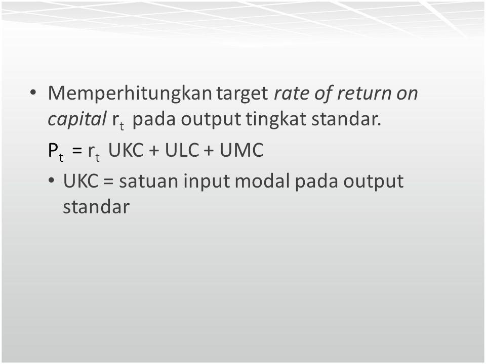 Memperhitungkan target rate of return on capital rt pada output tingkat standar.