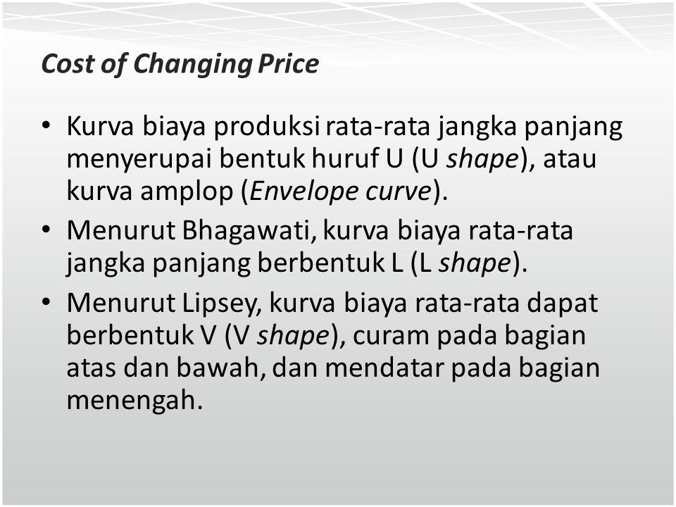Cost of Changing Price Kurva biaya produksi rata-rata jangka panjang menyerupai bentuk huruf U (U shape), atau kurva amplop (Envelope curve).