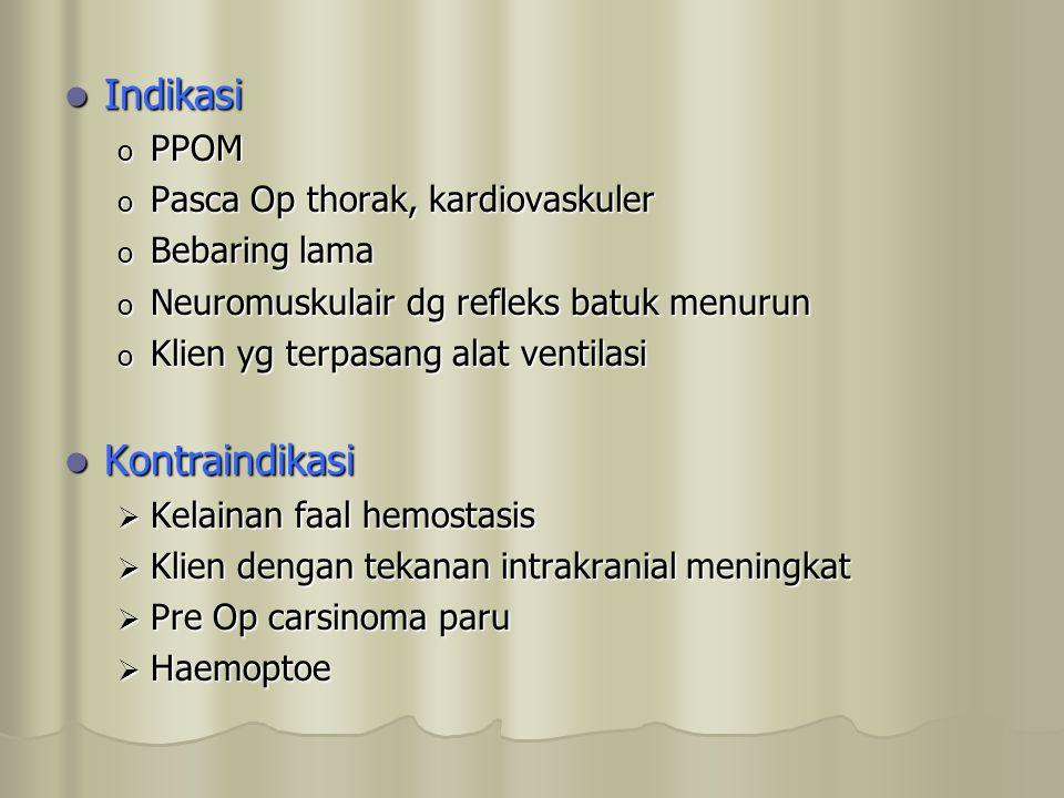 Indikasi Kontraindikasi PPOM Pasca Op thorak, kardiovaskuler