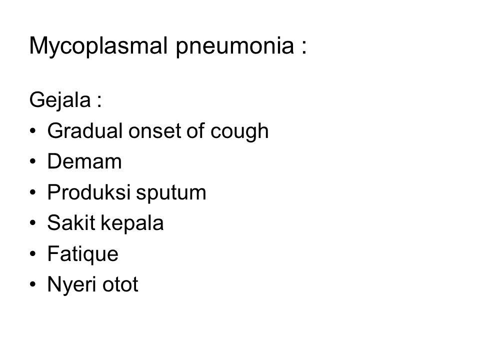 Mycoplasmal pneumonia :
